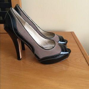 Steven Madden open toe black and nude heels